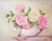 Vintage Shabby Chic Rose Painting
