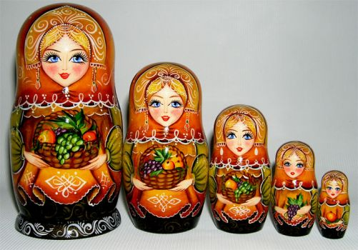 Russian nesting harvest dolls