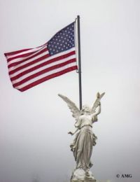 Statue And Flag On Gazebo - Happy Labor Day