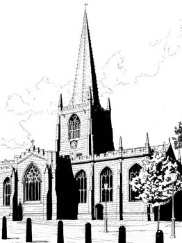 A drawing I did of the Cathedral, Sheffield - 1976