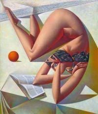 WOMAN READING A BOOK WITH ORANGE (2009)