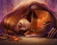 Sleeping fox and girl