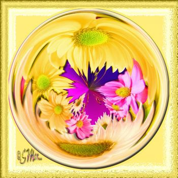 Yellow Sphere With Flowers.....