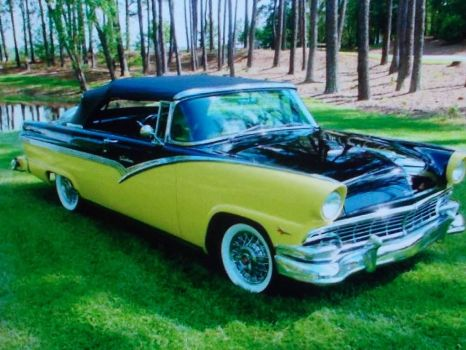 56 ford fairlane the bumble bee, is what i would call it.(spunky & the bandit).