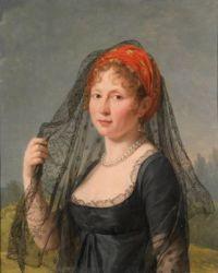 19th century Bildnis einer schwarzgekleideten Dame attr. to François Gérard