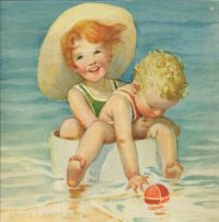 Themes Vintage illustrations/pictures - children at sea
