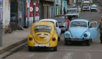VW Beetles on street in Peru