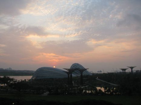Sun rise - over looking Gardens By the Bay from Marina Bay Sands Hotel Singapore