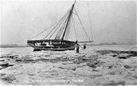 Frozen smack Whitstable harbour 1929