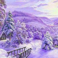 Purple Snow Scene