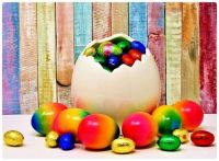 Chocolate Foil Wrapped Eggs and Colour Dipped Eggs Ready for Easter