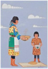 Indian Woman and Child Winnowing Wheat ~ Gilbert Atencio (Pueblo)