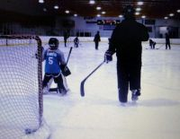 Daddy Coaching the goalie