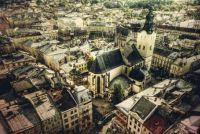 lviv ukraine skyline aerial