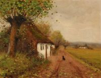 "Hans Andersen Brendekilde, ""Landscape with a Dog Waiting on a Country Road"""