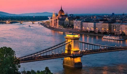 Budapest at dusk, with the Parliament Building and Chain Bridge