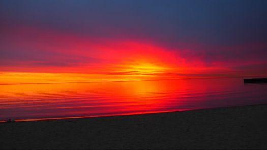 Sunrise over Lake Michigan.