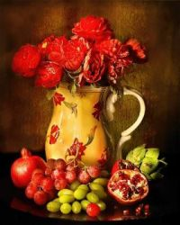 Pitcher, Fruit and Flowers-Still Life by Jill Wellington