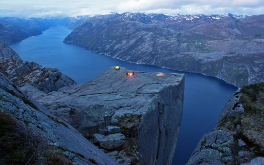 Camping on Pulpit Rock Norway
