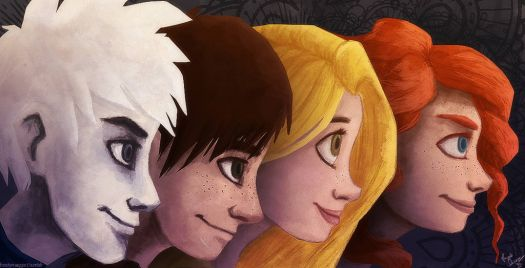 Jack Frost,Hiccup, Rapunzel and Merida