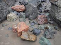Rock collection between huge, split boulders