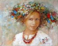 'Girl In A Flower Wreath' By Ukrainian Artist Nikolai Fedyaev
