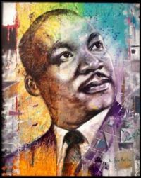 """Martin Luther King painting by Benbella"" ~ Amin Mestour (Morocco)"