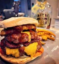 Western bacon double cheeseburger, with some vintage bourbon to wash it down