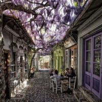 Molyvos village in Lesvos, Greece