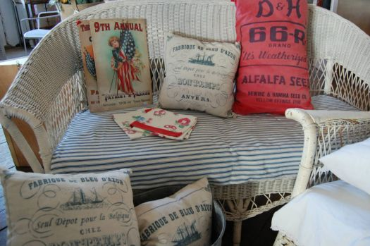Old Wicker with Interesting Pillows!