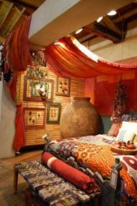 Boho Bedroom with Orange Canopy