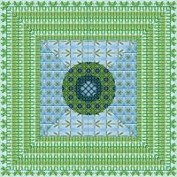 patterns in green and blue