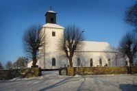 Harlösa Church, Scania, Sweden, on a cold winter's day.