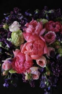 Happiness is.....Bright Pink Peony Bouquet,with purple accents.