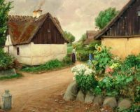 "Hans Andersen Brendekilde, ""Village with Flowers and a Woman"""