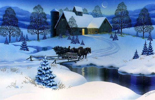 SLEIGH IN THE MOONLIGHT - COUNTRY SCENE