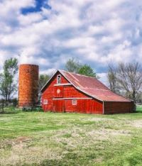 Old Red Barn and a Silo....
