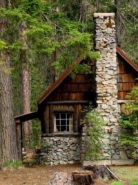 Stone and Shake Cabin In The Woods...