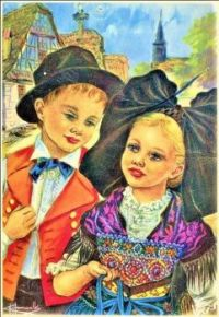 Themes Vintage illustrations/pictures - Postcard from Alsace