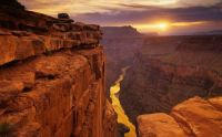 View of Grand Canyon and Colorado River from Toroweap Overlook at sunrise, Arizona