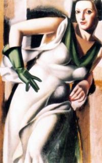 Tamara de Lempicka : Maria Górska (Polish, 1898-1980) WOMAN WITH THE GREEN GLOVE (1928)
