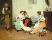 "Eugene de Blaas, ""The Friendly Gossips"""