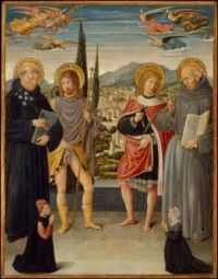 Benozzo_Gozzoli_-_Saints_Nicholas_of_Tolentino,_Roch,_Sebastian,_and_Bernardino_of_Siena,_with_Kneeling_Donors