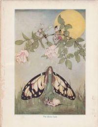 Victorian art book plate  fairy shower bath