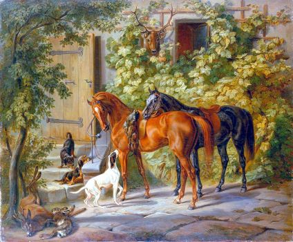 Horses at the Porch, 1843 by Albrecht Adam