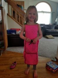 Liesey in her crocheted dress