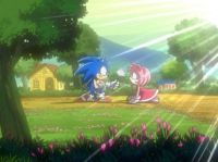 Sonic gives Amy a rose