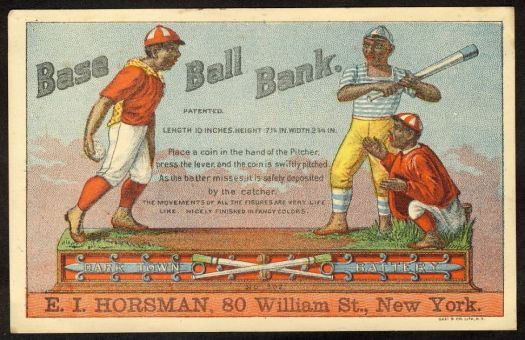 Base Ball - antique mechanical bank advertising trade card