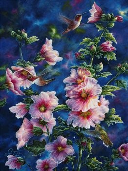 Hollyhocks And Hummingbirds by Jeff Tift