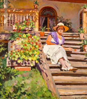 Woman Seated on Steps